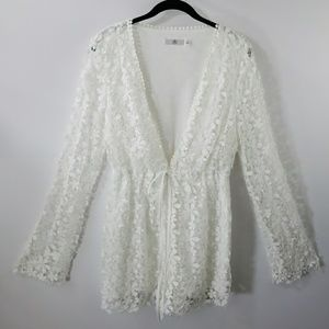 Misguided white lace romper size 8